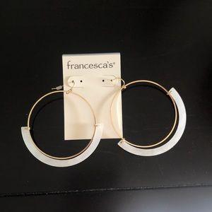 Francesca's Gold & White Hoop Earrings